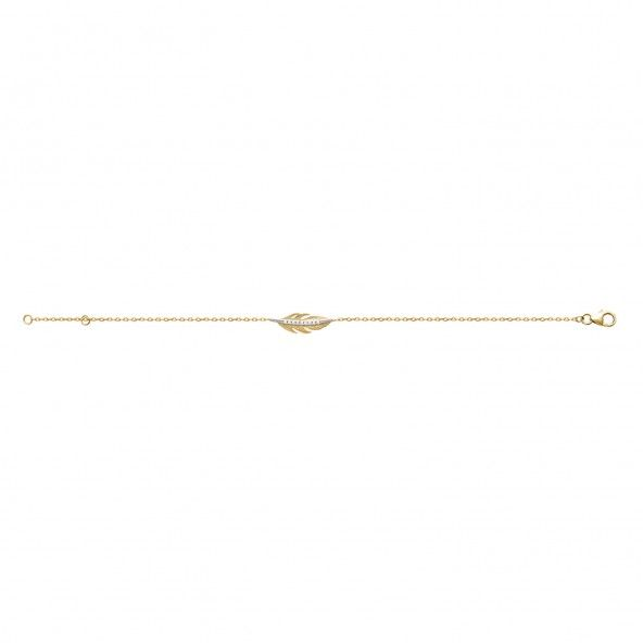 Bracelet Plume avec Zircon Plaqué Or