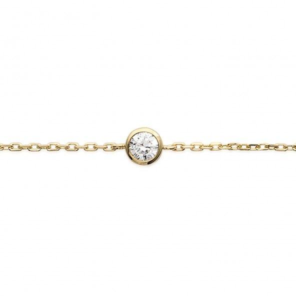 Bracelet avec Zircon Solitaire Coeur Plaqué Or