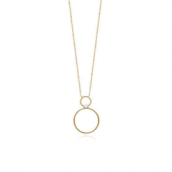 Collier Plaqué Or Ajustable 40 + 5 cm Double Cercle avec Zircon