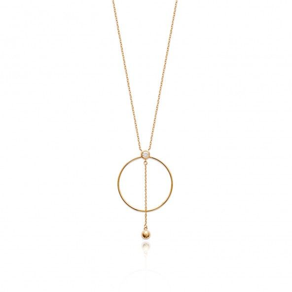 Extensible Gold Plated Necklace 40 + 5 cm Circle with Zirconium