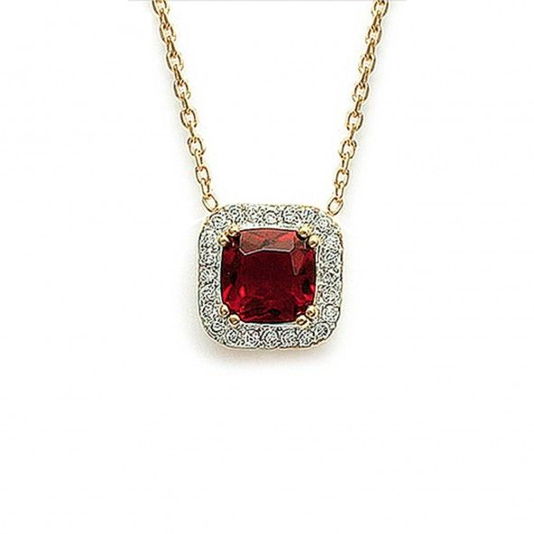 Extensible Necklace 40 + 5 cm with Square Red and White Zirconium Gold Plated