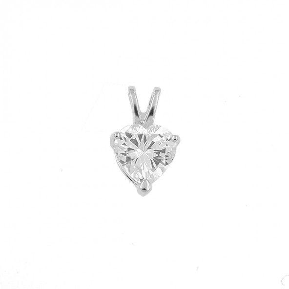 Pendantif em forme de coeur argent 925/1000 Zirconium blanc 9mm