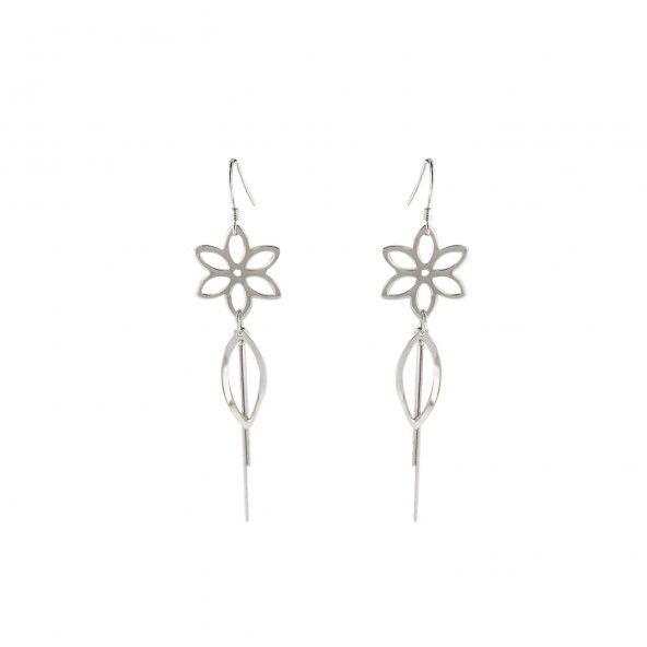 Dangling Earrings Flower 925/1000 Silver