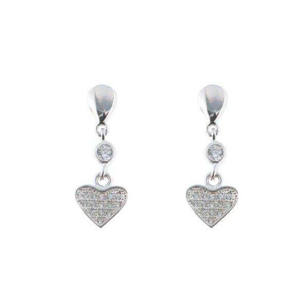 Boucles d'oreilles Pendantes Coeur Argent 925/1000 Zircon