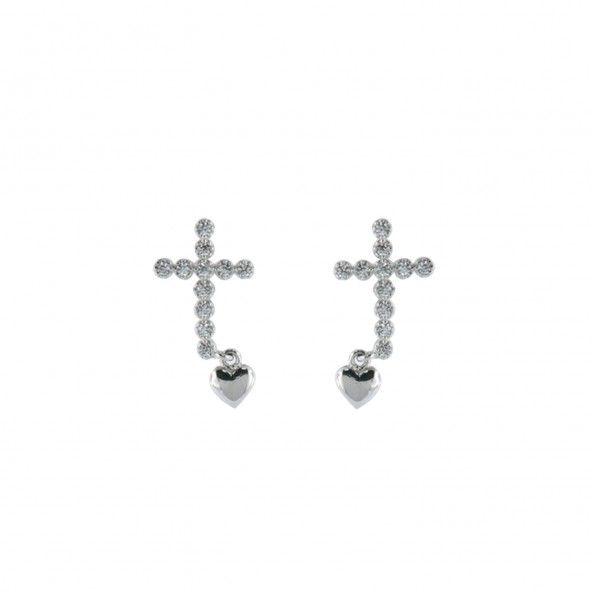 Cross Earrings 925/1000 Silver Zirconium