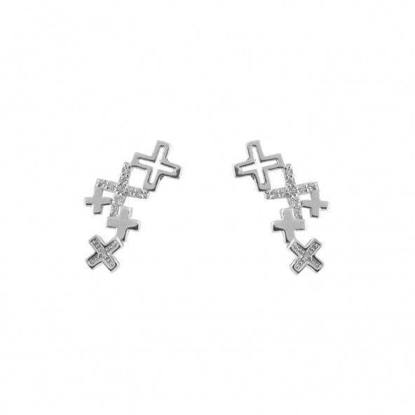 Boucles d'oreilles Croix Argent 925/1000 Zircon