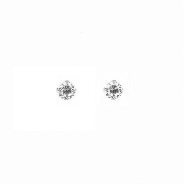 Boucles d'Oreilles Solitaire rond 2mm Zirconium Or 375/1000