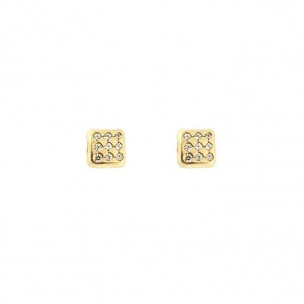 MJ Square Earrings 375/1000 Gold Zirconium