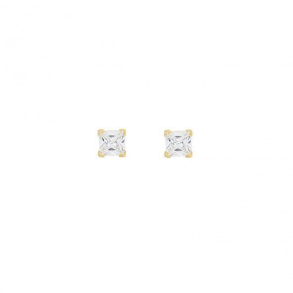 Boucles d'Oreilles Solitaire carré 2mm Zirconium Or 375/1000