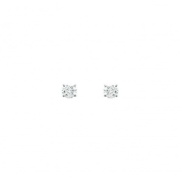 Boucles d'Oreilles ZIrcon Ronds 3 mm Or Blanc 375/1000