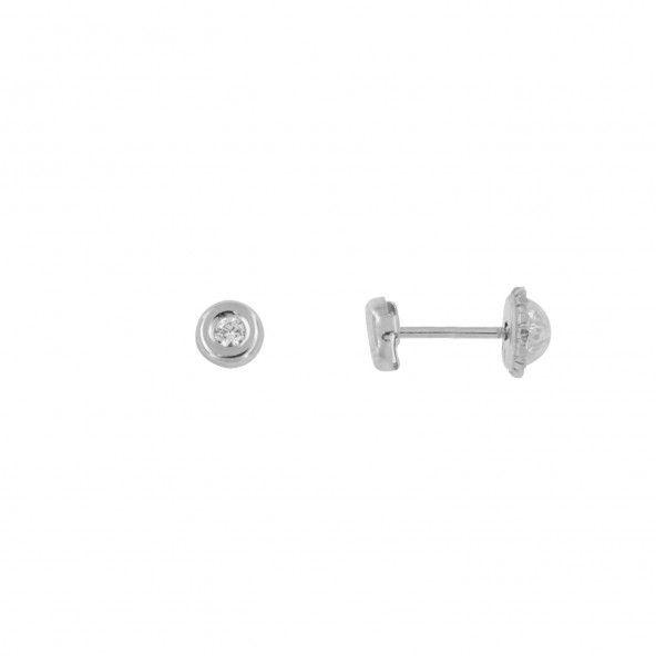 Boucles d'Oreilles Cercle Zircon Or 375/1000