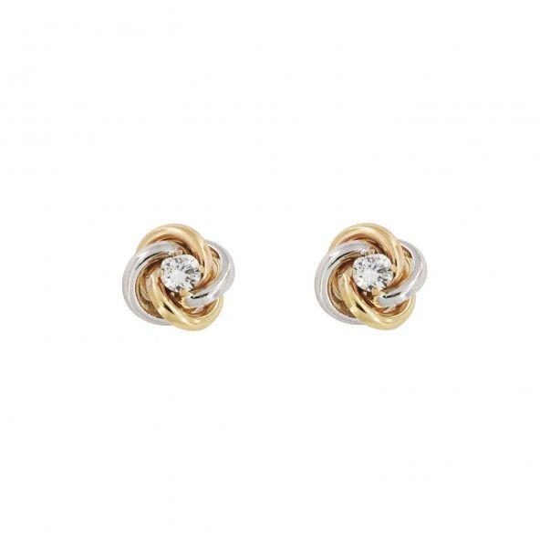375/1000 Gold Bicolor Knot Earrings Zircon