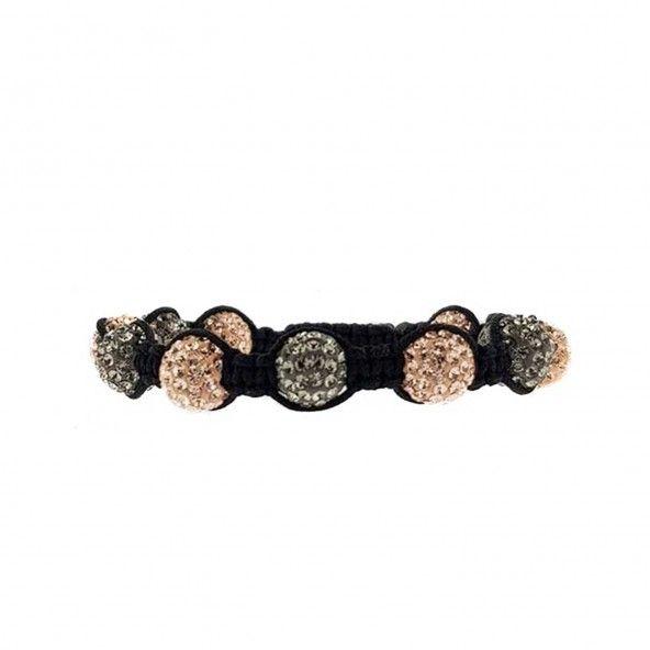 Bracelet Cordon Noir Swarovski Gris et Doré