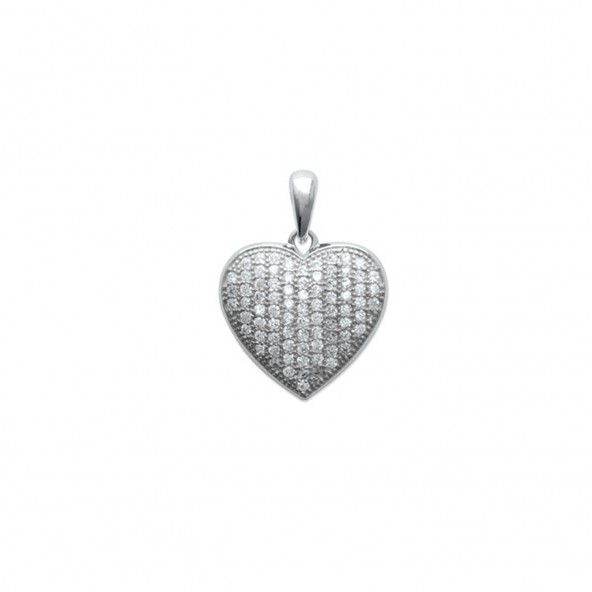 925/1000 Silver Heart Zirconium Pendent