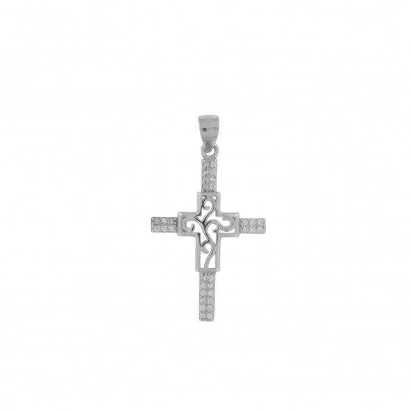 Pendentif Croix Zircon Argent 925/1000