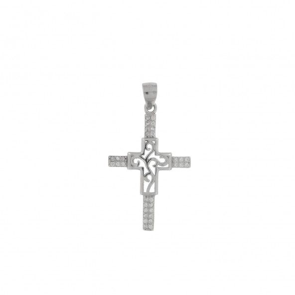 925/1000 Silver Cross Zirconium Pendent