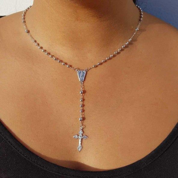 925/1000 Silver Rhodium Rosary