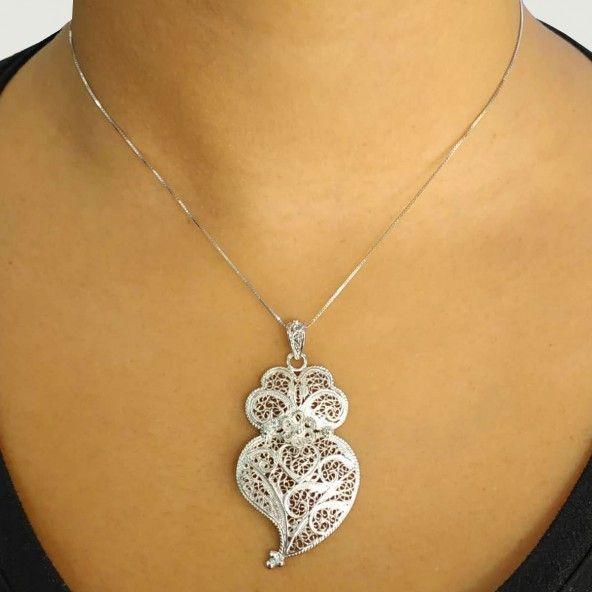 925/1000 Silver Pendant Viana Heart 4,7 cm