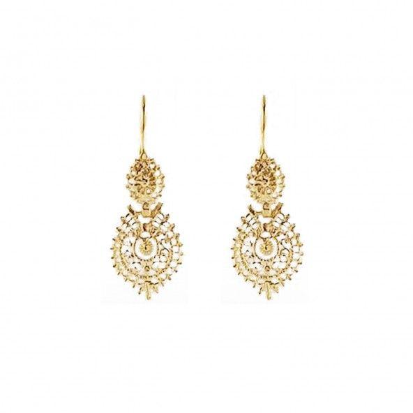Brincos Rainha Prata 925/1000 Dourado 2,4 cm