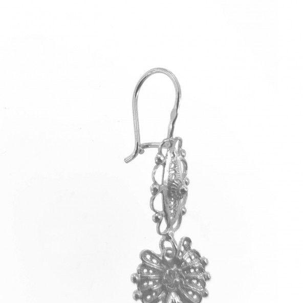 Brincos Coração de Viana 6,8 cm Prata 925/1000