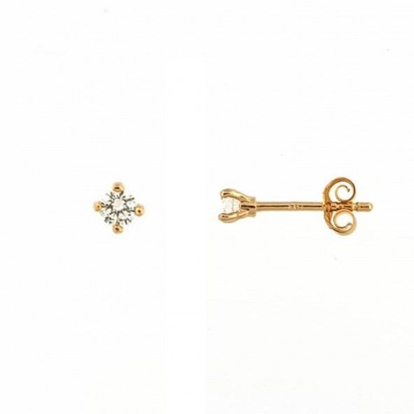 MJ Earring Round Zirconium 3 mm Gold Plated