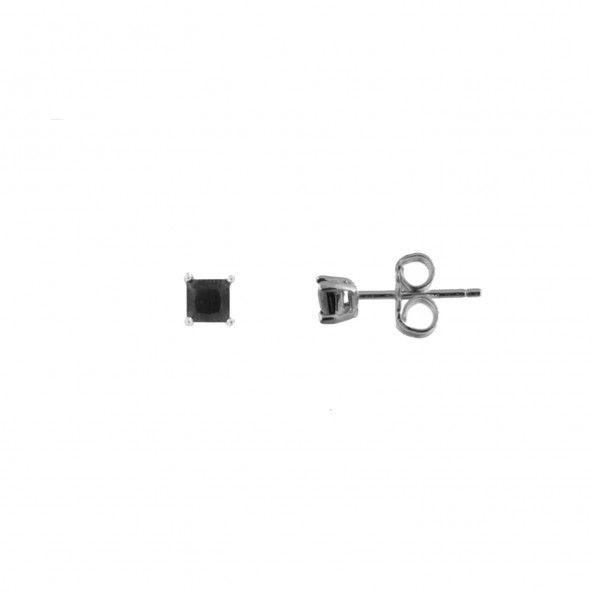 Boucles d'Oreilles Zircon Noir 3 mm Argent 925/1000