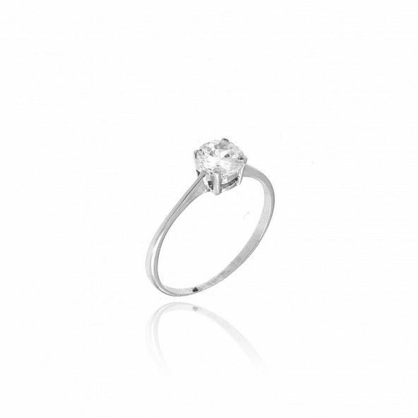 375/1000 White Gold Solitaire Ring