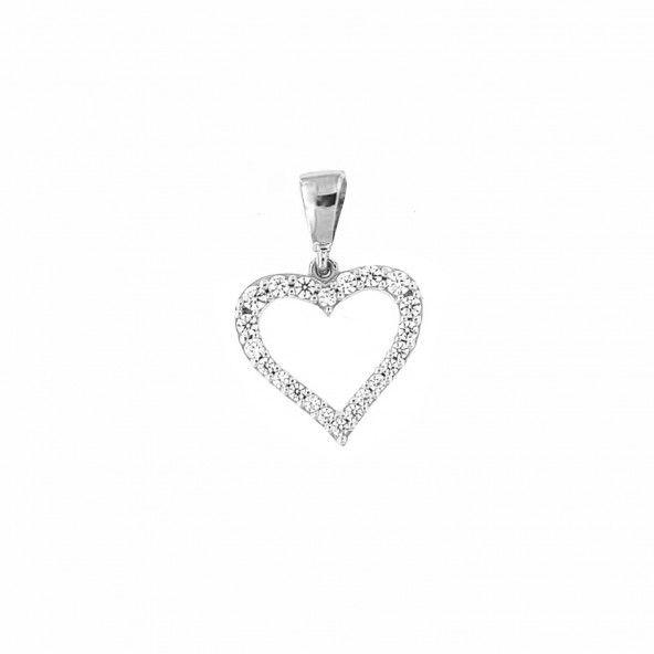 Pendentif Zircon Coeur Or Blanc 375/1000
