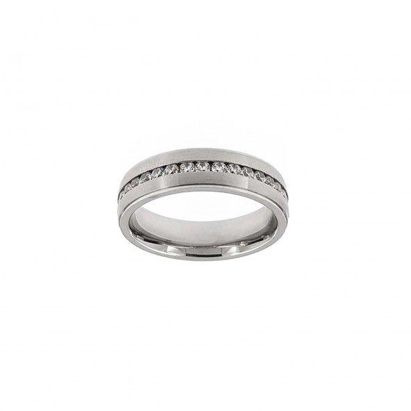 Stainless Steel Engagement Ring 1 Zirconium Stripe 6 mm