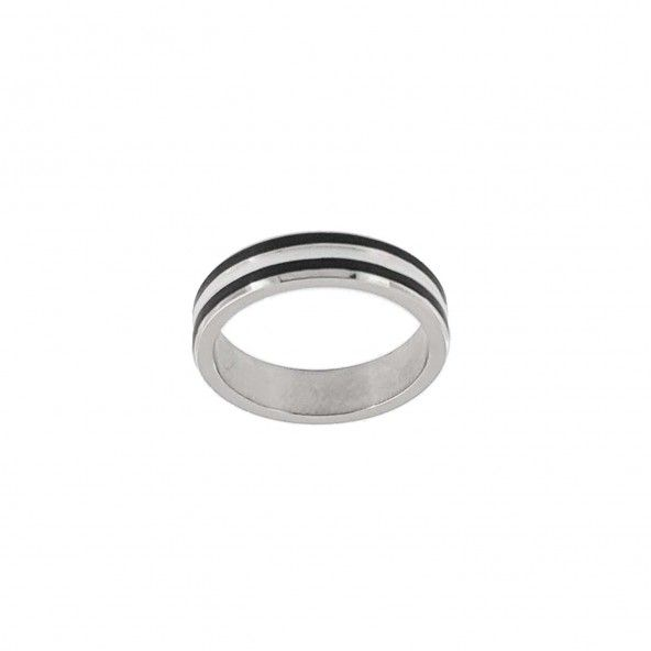 Stainless Steel Ring 2 Stripes Black 4 mm