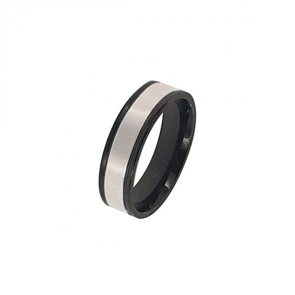 Stainless Steel Ring 2 black stripes 6mm