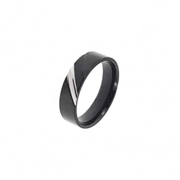Black Stainless Steel Engagement Ring 6 mm with 1 Silver Line