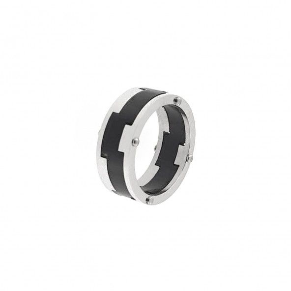 Stainless Steel Engagement Ring 1 cm with Black Middle