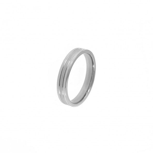 Stainless Steel Engagement Ring 4 mm with Lines