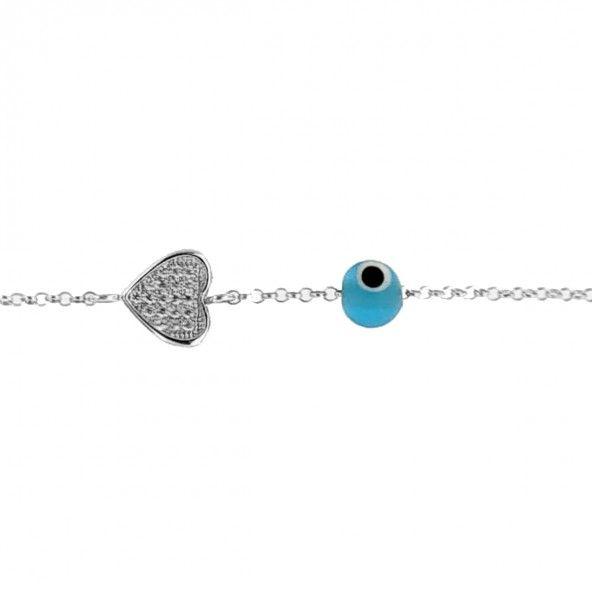Pulseira Amuleto Coração Prata 925/1000 com Pedras Zirconia