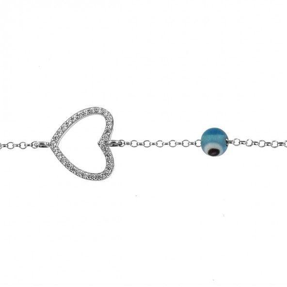 Pulseira Amuleto linha do Coração Prata 925/1000 com Pedras Zirconia