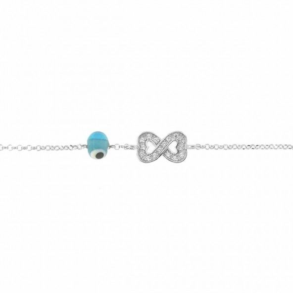 925/1000 Silver Amulet Bracelet with Infinite Hearts