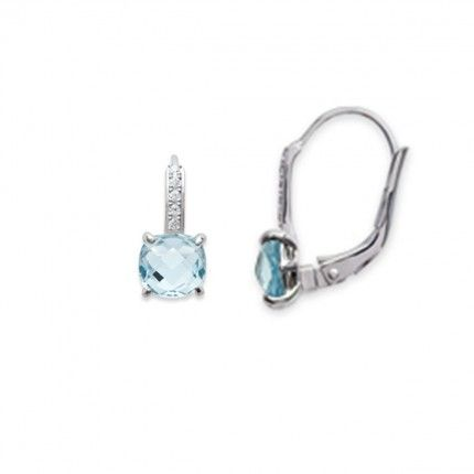 Pendant Solitaire Earring  Silver 925/1000 with Light Blue Zirconium 6mm