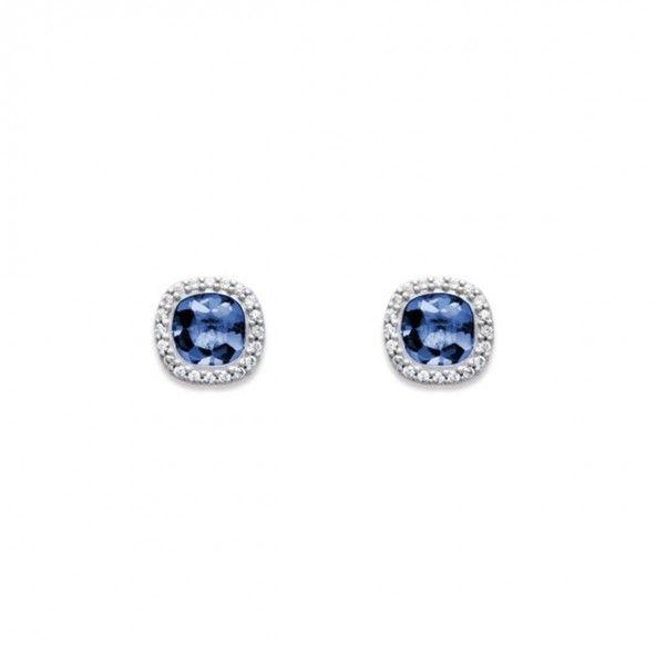 Brincos Solitário Prata 925/1000 quadrado com Zircónia grande Azul e pequenas Brancas 8 mm