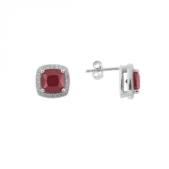 8 mm Square Shape 925/1000  Silver Pink Zirconium Solitaire Earrings