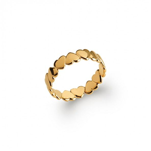 Gold Plated Ring with hearts without stones 4mm.