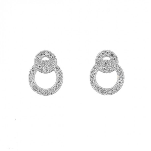 925/1000 Silver Fixed earrings two rings interlaced with White Zirconium 12mm.
