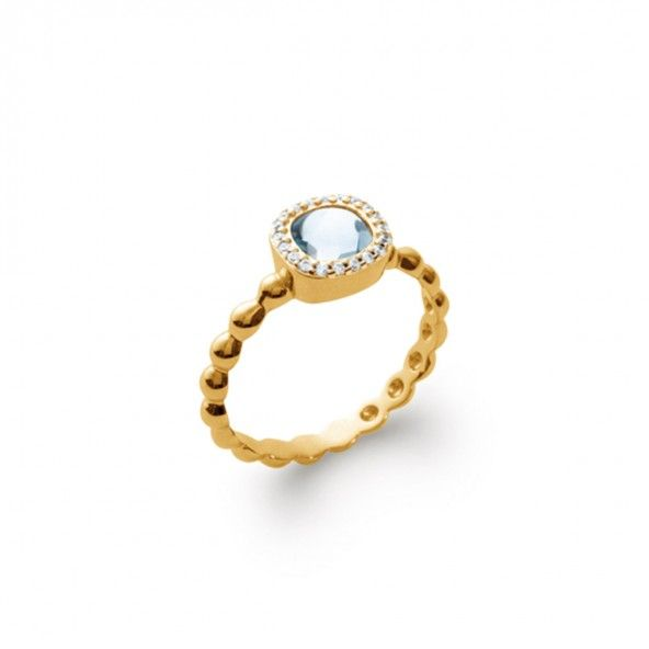 Gold Plated Solitary Ring with Light Blue Zirconium and Small White's 9mm.