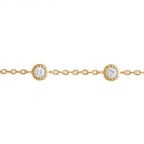 Pulseira Jade Anel + Pulseira Plaqueado a Ouro 16cm/18cm com 4 zircónias redondas.