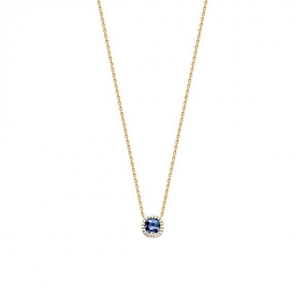Collier extensible Plaqué Or avec Pierre Zirconium 7mm Bleu et Petites Pierres Blanches