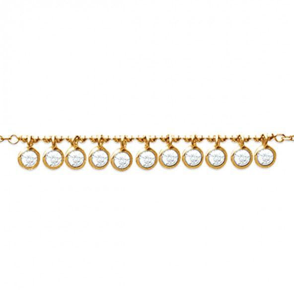 Fio Plaqueado a Ouro 40cm/42cm/45cm com várias Zircónias brancas redondas com 4mm.