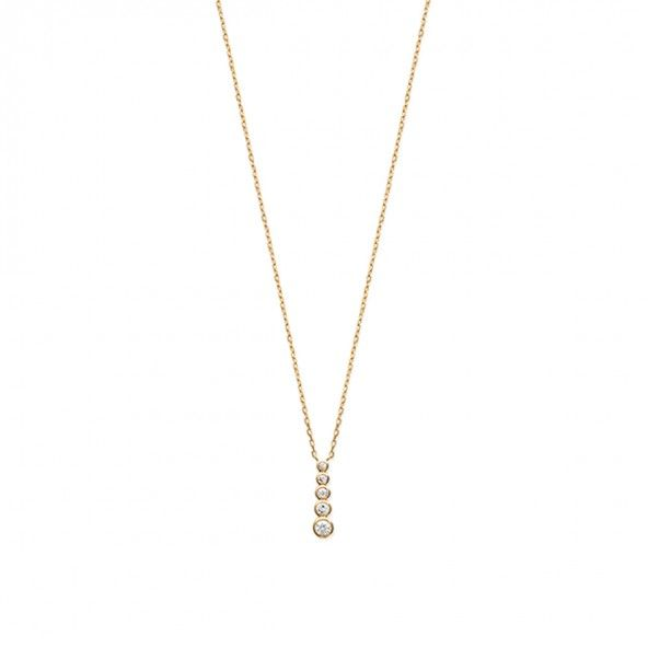 Gold Plated Chain 40cm/42cm/45cm with medal 5 Round White Zirconium with 19mm.