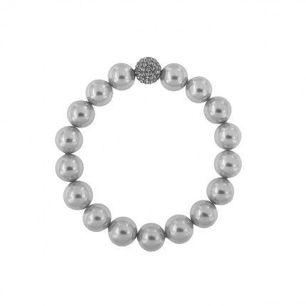 Elastic Bracelet Synthetic Pearls with Grey Chambala Ball 11mm.