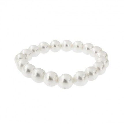 Elastic Bracelet Synthetic White Pearls with 11mm.