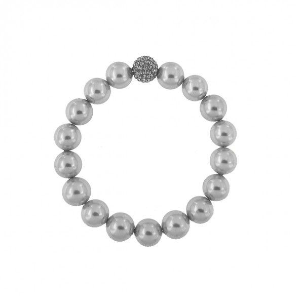 Bracelet élastique en perles synthétiques avec balle en Chambala gris 11mm.